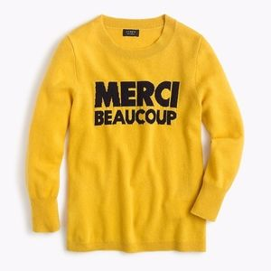 """J Crew Cashmere Sweater """"Merci Beaucoup"""" Small"""